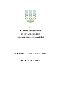 ADAY ÖĞRETMEN KLAVUZU - Fen Edebiyat Fakültesi