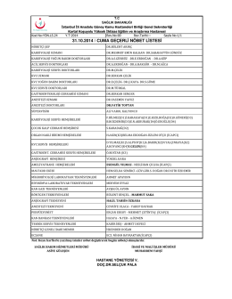31.10.2014 / cuma geçerli nöbet listesi