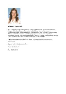 Fzt. Vesile YILDIZ - Fizik Tedavi ve Rehabilitasyon Bölümü