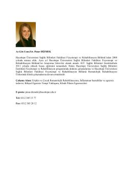 Ar.Gör.Uzm.Fzt. Pınar DİZMEK Hacettepe Üniversitesi Sağlık
