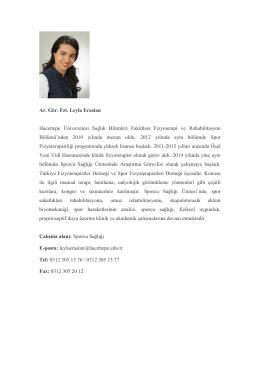 Uzm. Fzt. Leyla ERASLAN - Hacettepe Üniversitesi