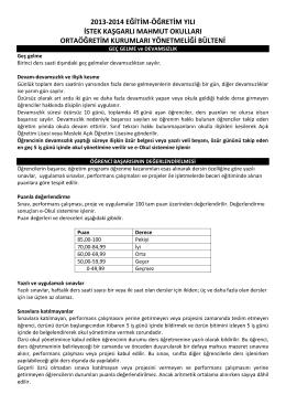 2013-2014 eğitim-öğretim yılı istek kaşgarlı mahmut okulları