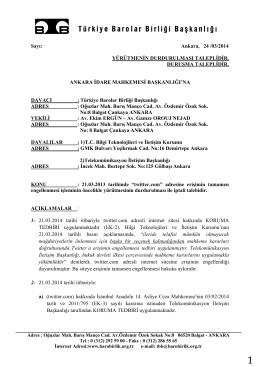 Dilekçe için tıklayınız - Türkiye Barolar Birliği