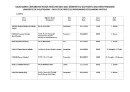 Hukuk Fakültesi 2014-2015 eğitim-öğretim yılı güz yarıyılı ara sınav