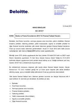 2015/17 KONU Banka ve Finans Kurumlarının 2015 Yılı Finansal