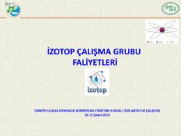 İzotop Çalışma Grubu Sunumu - Devlet Su İşleri Genel Müdürlüğü