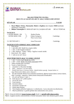 2.sınıf ihtiyaç listesi