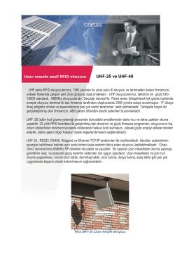 UHF-25 ve UHF-40 - Teta Elektronik A.Ş.
