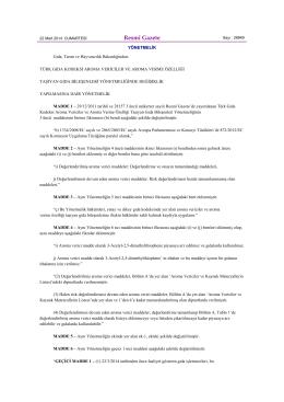 Türk Gıda Kodeksi Aroma Vericiler ve Aroma Verme Özelliği Taşıyan