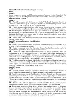 Senato 2013-9-5 YYÜ Yandal Program Yönergesi