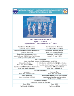 I YEAR 2 COURSE 1 September 01 , 2014
