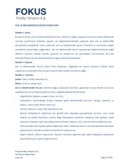 Acil Durum Eylem Planı - fokus portföy yönetim a.ş. tr