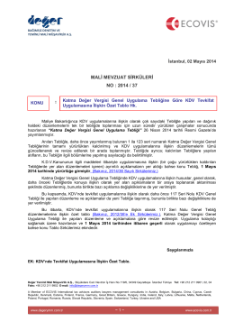 2014-37 KDV Genel Uyg Genel Teb Göre KDV Tevkifat Uyg İliş Özet