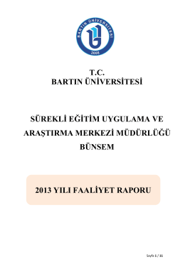 2013 Yılı Birim Faaliet Raporu - Bartın Üniversitesi Sürekli Eğitim
