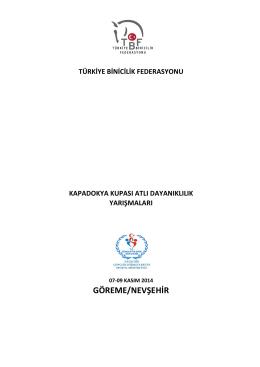 GÖREME/NEVŞEHİR - Türkiye Binicilik Federasyonu