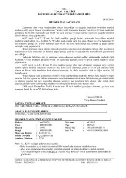 Defterdarlığımız Vergi Dairesince 12/12/2014 tarihinde saat 10:10