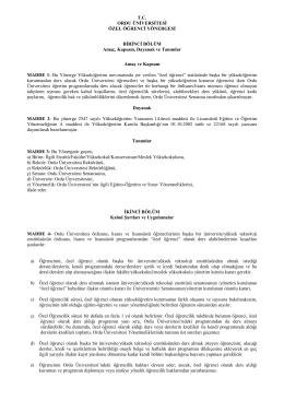 T.C. ORDU ÜNİVERSİTESİ ÖZEL ÖĞRENCİ YÖNERGESİ BİRİNCİ