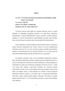 """""""NATO Barışı Destekleme Harekâtında Sürdürülebilir Lojistik Destek"""