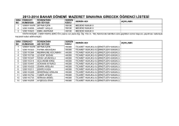 2013-2014 bahar dönemi mazeret sınavına girecek öğrenci listesi