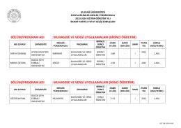 birinci öğretim - Uludağ Üniversitesi
