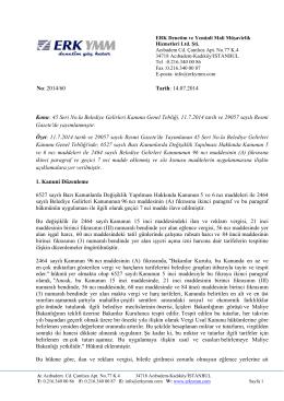 45 Seri No.lu Belediye Gelirleri Kanunu Genel Tebliği Resmi Gazete