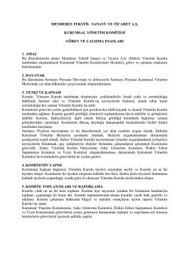MENDERES TEKSTİL SANAYİ VE TİCARET A.Ş. KURUMSAL