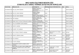 22 mayıs 2014 tarihli yerinde satış ihalesi sonuçları