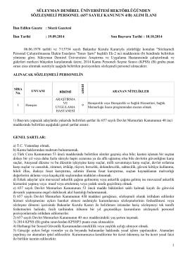 süleyman demirel üniversitesi rektörlüğünden sözleşmeli personel