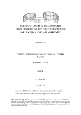 21 Ocak 2014 tarihli Perihan ve Mezopotamya Basın Yayın A.Ş. v