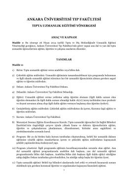 Ankara Üniversitesi Tıp Fakültesi Tıpta Uzmanlık Eğitimi Yönergesi