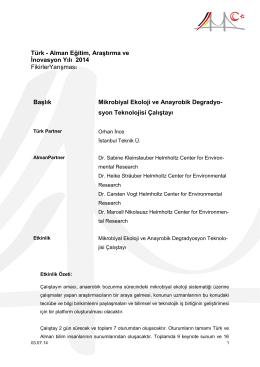 Mikrobiyal Ekoloji ve Anayrobik Degradyosyon Teknolojisi Çalıştayı