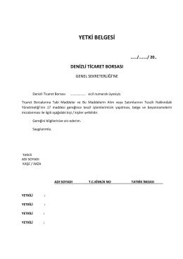YETKİ BELGESİ - Denizli Ticaret Borsası