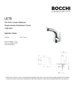 Tek Kollu Lavabo Bataryası Single-Handle Washbasin