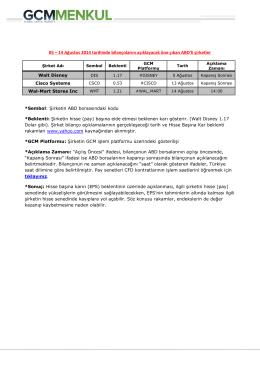 05 – 14 Ağustos 2014 tarihinde bilançolarını