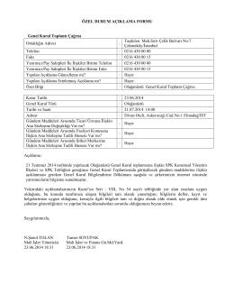 Özel Durum Açıklama Formu 23 Haziran 2014-2
