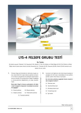 aaaaaa lys-4 felsefe grubu testi - İzmir İl Milli Eğitim Müdürlüğü
