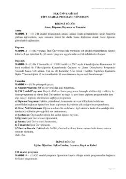 ipek üniversitesi çift anadal programı yönergesi