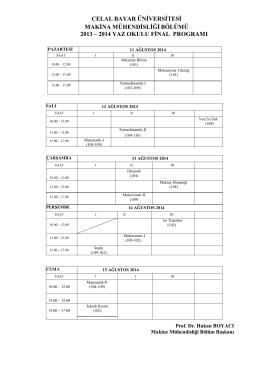 2013-2014 Yaz Okulu Final Programı
