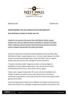 Kentin Marinalı Tek Villa Projesi Hayata Kapılarını Açıyor 28/08/2014