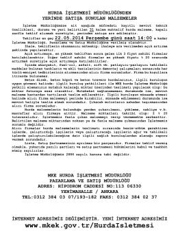 22.05.2014 Tarihli Yerinde Satış Hurda Malzeme İhale listesi