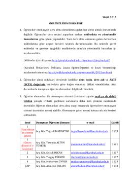 30.01.2015 ÖĞRENCİLERİN DİKKATİNE 1. Öğrenciler otomasyon