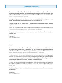 Editörden / Editoryal - Yeni Symposium Dergisi