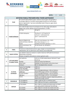 Betopan Panelli Teknik Şartname