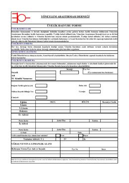 üyelik formunu - Yöneylem Araştırması Derneği (YAD)