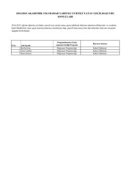 2014/2015 akademik yılı bahar yarıyılı yurtiçi yatay geçiş başvuru
