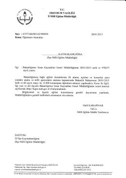ERZURUM v,lı,iriĞi - palandöken ilçe millî eğitim müdürlüğü