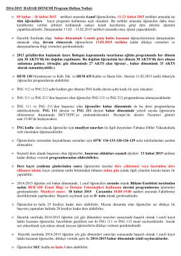 2014-2015 BAHAR DÖNEMİ Program Haftası Notları