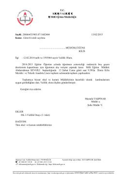 Toplantı Üst Yazı - Kilis Milli Eğitim Müdürlüğü