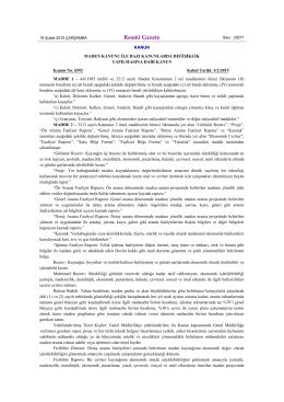18.02.2015 tarih 29271 sayılı resmi gazetede yayınlanan maden
