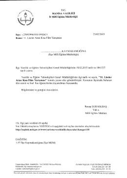 İl Milli Eğitim Müdürlüğü´nün 23/02/2015 tarih 1992621 sayılı 11